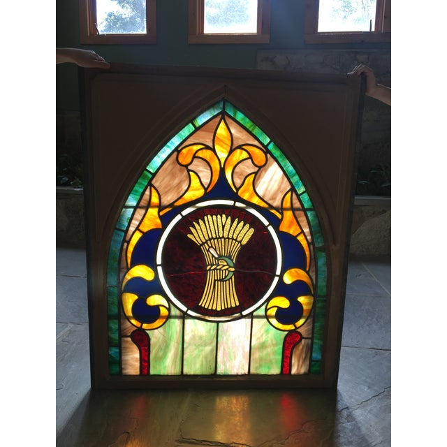 Late 19th Century Vintage Wheat and Sickle Gothic Leaded Stained Glass Window For Sale - Image 4 of 8