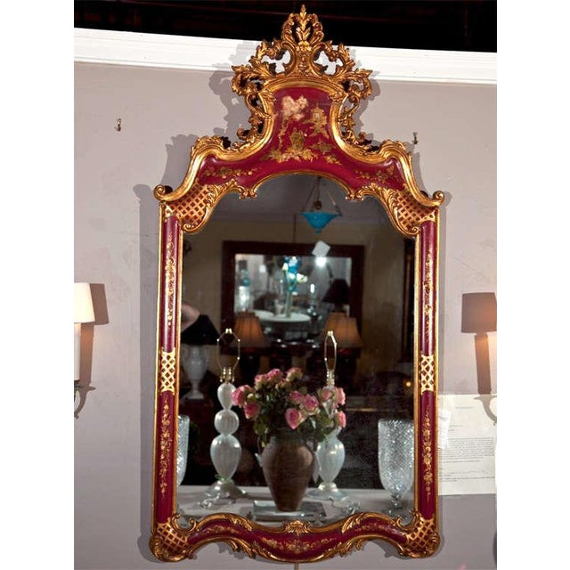 Unique French Rococo style mirror depicting a hand-painted chinoiserie scene, late 19th century, overall red painted and...