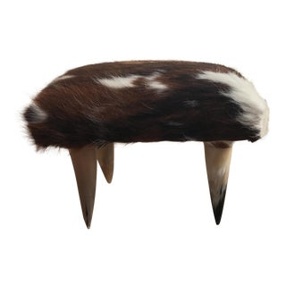 Vintage Contemporary Hide Upholstered Footstool