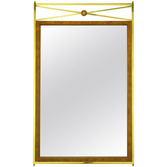 Early Mastercraft Brass and Burl Empire Revival Mirror For Sale