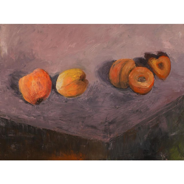 A classic still life of the beautifully colored apricots.