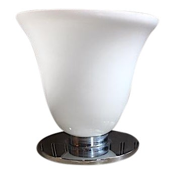 Mid-Century Frosted Glass & Chrome Table Lamp For Sale
