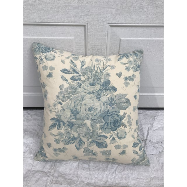Ralph Lauren Blue & White Rose Patterned Pillow - Image 2 of 8