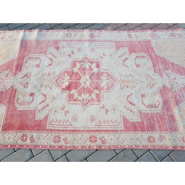 """Distressed Red and Yellow Turkish Rug 4'1"""" X 8'6"""" For Sale - Image 4 of 12"""