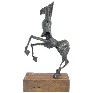 Steel Centaur Sculpture on Wood Base For Sale