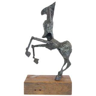 Steel Centaur Sculpture on Wood Base For Sale