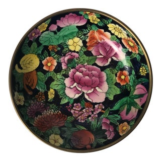 20th Century Chinoiserie Floral Hand Painted Brass Bowl For Sale