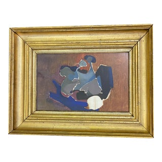 Blue and Rust Contemporary in Heavy Antique Frame For Sale