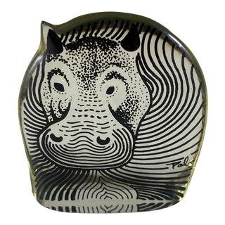 1970s Abraham Palatnik Lucite Hippopotamus Figurine For Sale