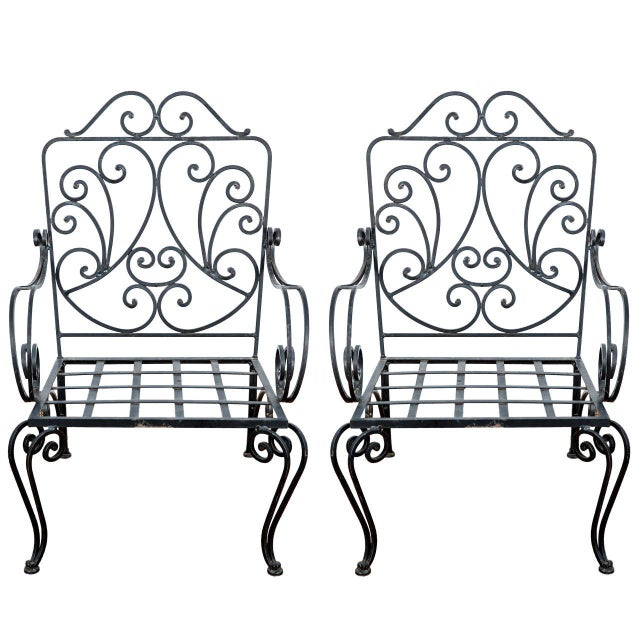 Pair of Iron French Armchairs in the Style of j.c. Moreux For Sale - Image 10 of 10