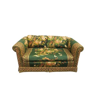 1980s Drexel Emerald Green and Gold Fabric Loveseat For Sale