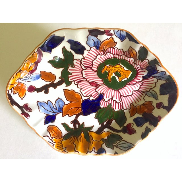 Gien France Rare Vintage 1985 Faience Ruffle Edge Small Hand Painted Floral Ceramic Dish For Sale - Image 13 of 13