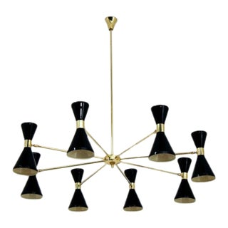 Mid Century Stilnovo Style Chandelier For Sale