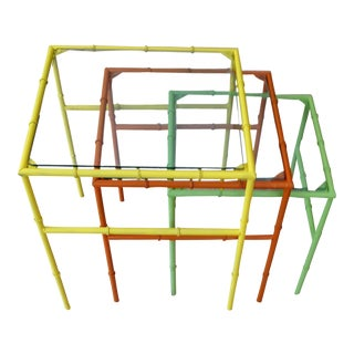 Colorful Faux Bamboo Yellow, Orange, Green Nesting Tables - Set of 3