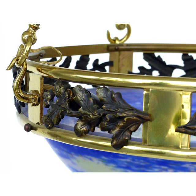 Blue French Art Deco Bronze and Glass Pendant Chandelier After Muller Fres Luneville For Sale - Image 8 of 12
