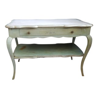 White Mablre Top 1930s Italian Painted Console or Dressing Table For Sale