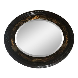 1890 Antique Edwardian Chinoiserie Hand-Carved Ebony Lacquered Frame Bevelled Mirror For Sale