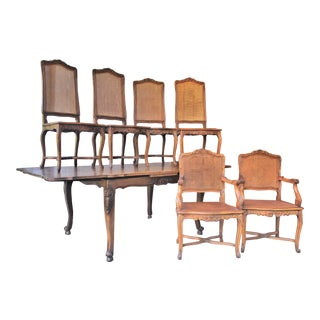 Vintage French Louis XV Style Draw Leaf Dining Set - 7 Pieces For Sale