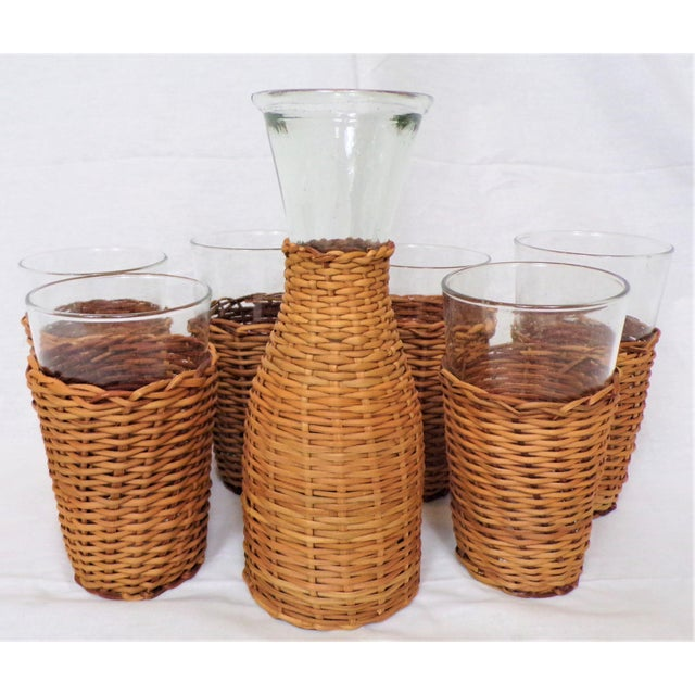 2010s Vintage Rattan Wine Carafe and Glasses - Set of 7 For Sale - Image 5 of 11