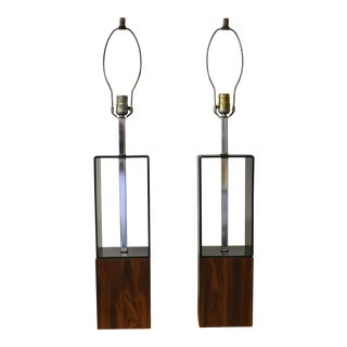 1970s Smoked Lucite Wood Cube Table Lamps - a Pair For Sale