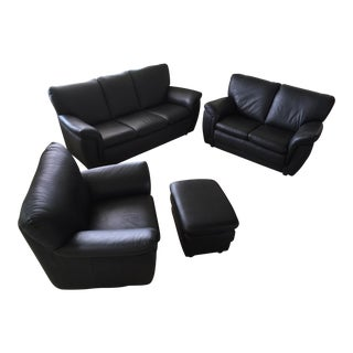 Italian Chateau d'Ax Spa Black Leather 4-Piece Sofa & Chair Set