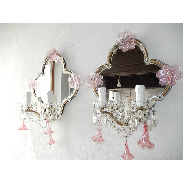 Huge Maison Baguès Style Mirror with Pink Murano Flowers Sconces For Sale - Image 9 of 9