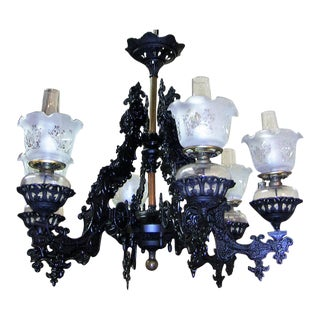 19c Bradley & Hubbard Cast Iron 6 Arm Chandelier