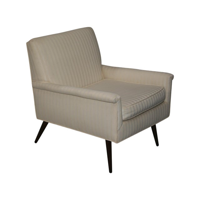 Mid-Century Modern Ivory Stripe Lounge Chair - Image 1 of 8