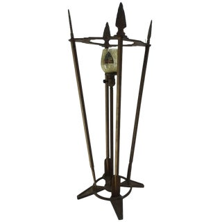 Verona Arrow Bronze Lamp With Crested Globe For Sale