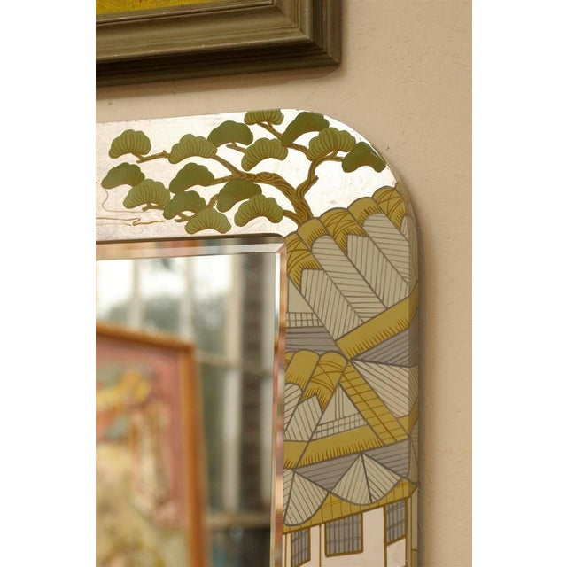 Regency Painted Silver Chinoiserie Mirror - Image 6 of 8
