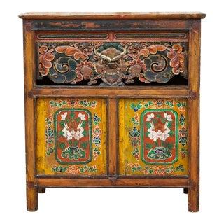 Carved Dragon Tibetan Cabinet For Sale