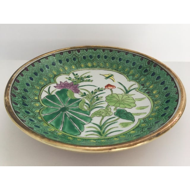 Japanese Lotus Hand Painted Brass Encased Porcelain Bowl/Catchall For Sale - Image 9 of 13