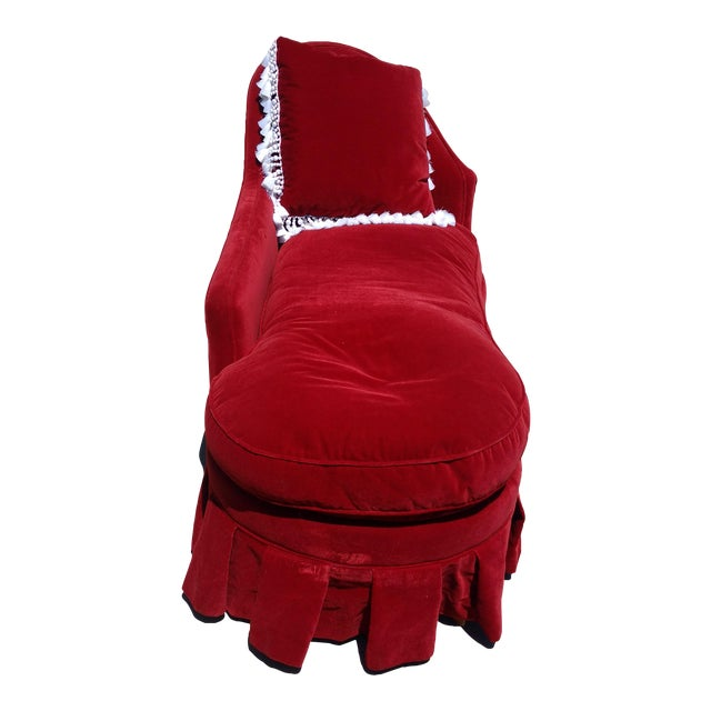 Antique Red Velvet Chaise Lounge - Image 1 of 4