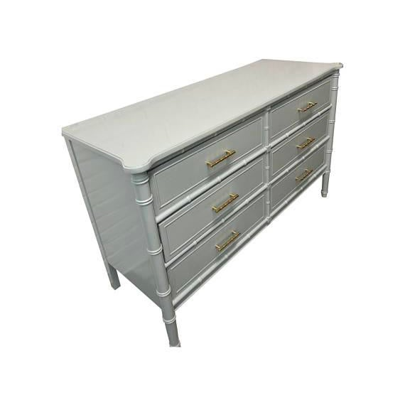 Hollywood Regency Gray Bamboo Transitional Dresser For Sale - Image 3 of 5