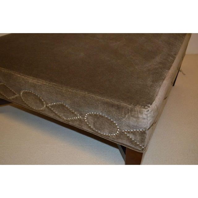 Custom Brown Velvet Ottoman - Image 4 of 6