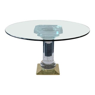 Italian Brass, Acrylic and Glass Dining Table, 1970's For Sale