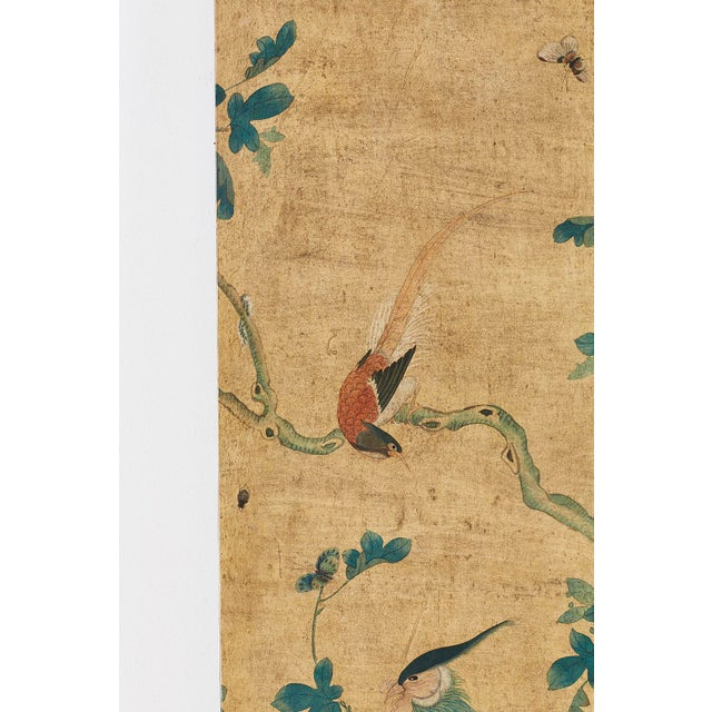 Continental Painted Chinoiserie Wallpaper Screen With Decoupage For Sale - Image 4 of 13