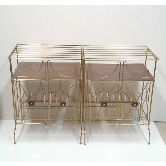 Mid-Century Modern Brass Record Racks - A Pair - Image 2 of 6
