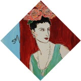 """Image of Contemporary Diamond-Shaped Painting """"Rose and Diamond"""" by Sarah Myers For Sale"""