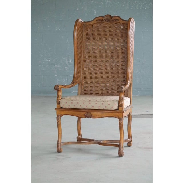 Hollywood Regency Pair of 1920s Hollywood Regency Cane Wingback Chairs For Sale - Image 3 of 10