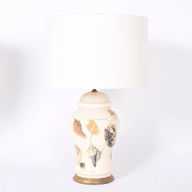 Mid 20th Century Decoupage Sea Shell Table Lamps - A Pair For Sale - Image 5 of 9