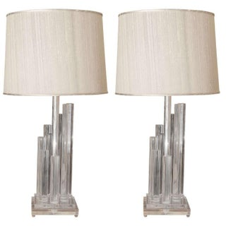 Lucite Staggered Column Lamps - A Pair For Sale
