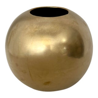 Vintage Brass Orb Vase For Sale