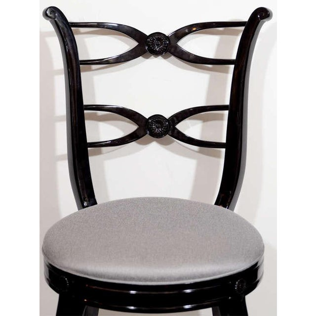 Hollywood Regency Pair of 1940's Hollywood Lyre Back Occasional Chairs For Sale - Image 3 of 9