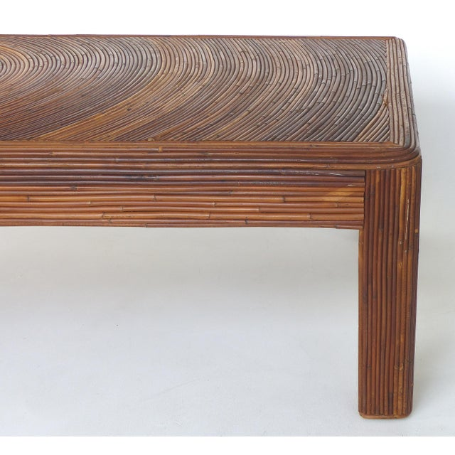 Pencil Reed Mid-Century Modern Coffee Table in the Style of Gabriella Crespi For Sale In Miami - Image 6 of 11