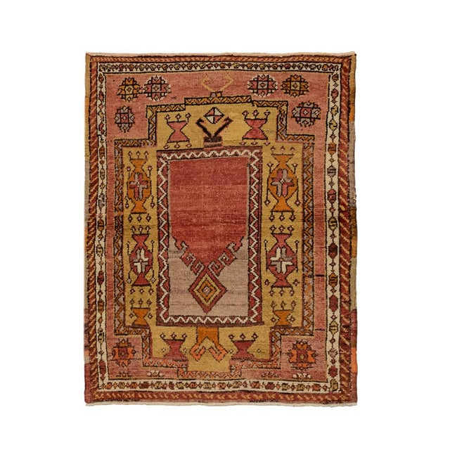 Islamic Vintage Red Turkish Area Rug 3'x3' For Sale - Image 3 of 5