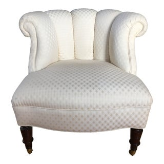 Traditional Kravet Furniture White Upholstered Accent Chair For Sale