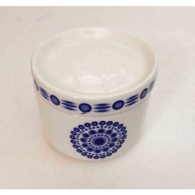 Mid-Century Blue & White Sugar Bowl - Image 6 of 7