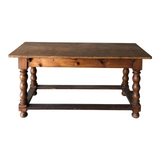 1950s Traditional Continental Oak Library Table For Sale