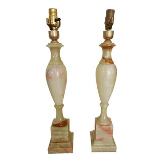 Traditional Tall Onyx Table Lamps - A Pair For Sale
